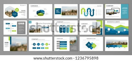 Blue and green abstract presentation slide templates. Infographic elements template  set for web, print, annual report brochure, business flyer leaflet marketing and advertising template.