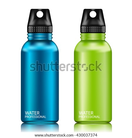 Blue and Green aluminum reusable water bottle isolated on a white background.