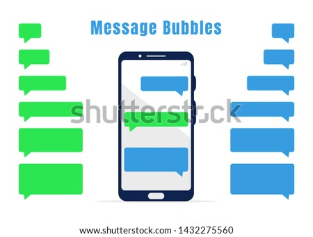 Blue and green blank messaging bubbles collection. Empty mobile chat design elements and white mobile phone. Smartphone with dialog. Sms messages. Template for messenger chat. Vector illustration
