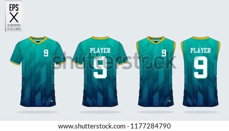Blue and green gradient T-shirt sport design template for soccer jersey, football kit. Tank top for basketball jersey. Sport uniform in front and back view. Sport shirt mock up for sport club. Vector.