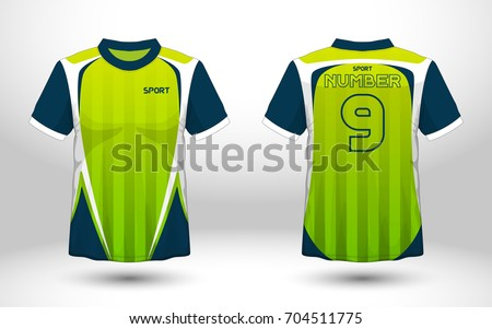 795689617 Blue and green layout football sport t-shirt design. Template front, back  view