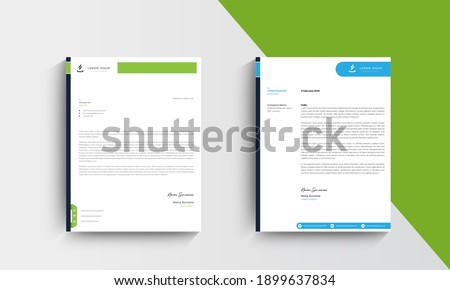 Blue and Green Modern Business Letterhead Design Template, Abtract Letterhead Design, Letterhead Template,  - vector