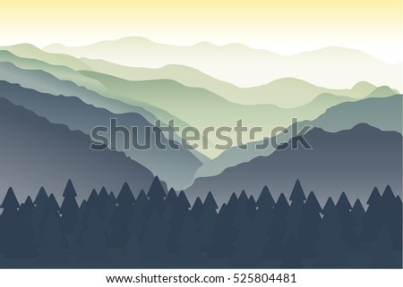 Blue and green mountains in the fog. Mountain landscape, hills, river and trees. Landscape with Mountain Peaks. The silhouettes of the mountains against the dawn. Vector illustration. Background