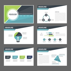 Blue and green multipurpose presentation infographic element and light bulb symbol icon template flat design set for advertising marketing brochure flyer