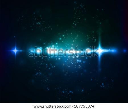 Blue and green nebula on black space background. Vector illustration