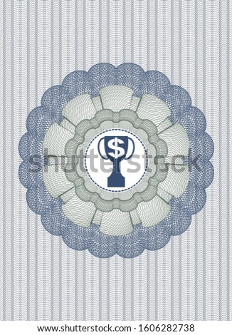 Blue and green passport rosette with trophy with money symbol inside icon inside