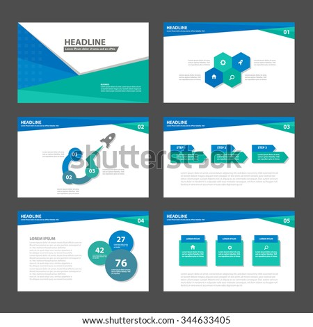 Blue and Green presentation template Infographic elements flat design set for brochure flyer leaflet marketing advertising