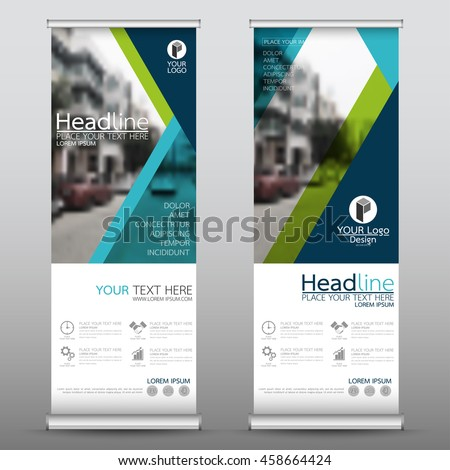 Blue and green roll up business banner design vertical template vector, cover presentation abstract geometric background, modern publication display and flag-banner, layout in rectangle size. #458664424