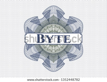 Blue and green rosette (money style emblem) with text Byte inside