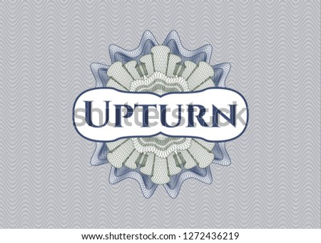 Blue and green rosette (money style emblem) with text Upturn inside
