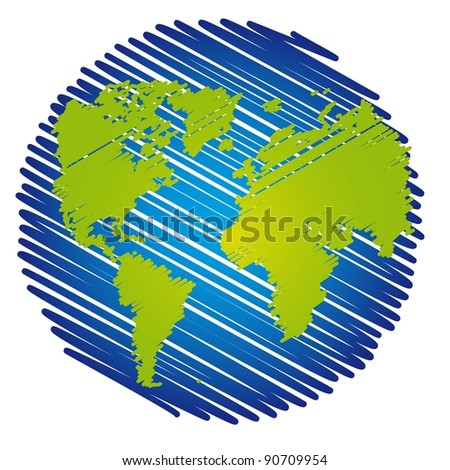 blue and green scrawled planet over white background. vector