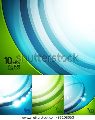 Blue and green waves background set