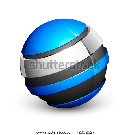 blue and grey sphere icon