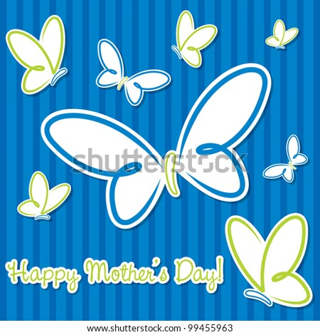 "Blue and lime green butterfly ""Happy Mother's Day"" sticker card in vector format."