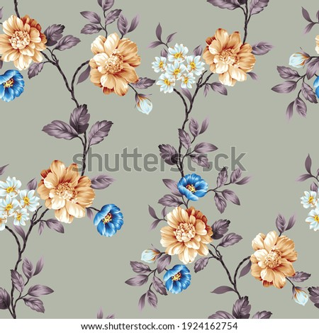 blue and mustered vector flowers with leaves pattern on grey background Stock foto ©