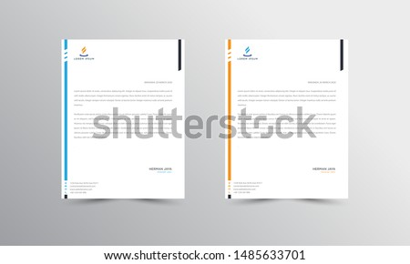 Blue and orange Abstract Letterhead Design Template - vector