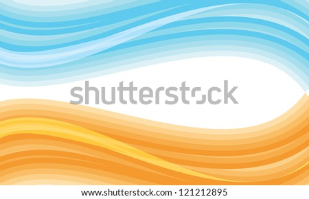 Blue and orange abstract wave