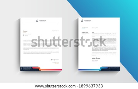 Blue and Orange Modern Business Letterhead Design Template, Abtract Letterhead Design, Letterhead Template,  - vector