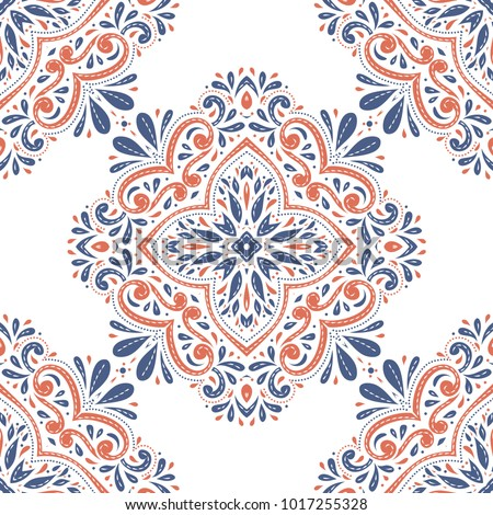 Blue and orange ornamental seamless pattern. Vintage, paisley elements. Ornament. Traditional, Ethnic, Turkish, Indian motifs. Great for fabric and textile, wallpaper, packaging or any desired idea