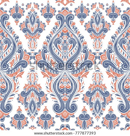Blue and orange ornamental seamless pattern. Vintage, paisley elements. Ornament. Traditional, Ethnic, Turkish, Indian motifs. Great for fabric and textile, wallpaper, packaging or any desired idea.