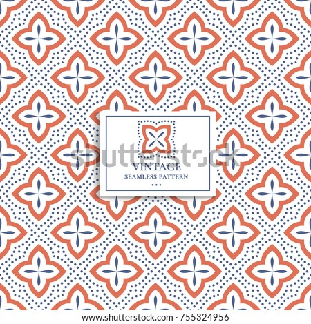 Blue and orange seamless pattern. Ornament, Traditional, Ethnic, Arabic, Turkish, Indian motifs. Great for fabric and textile, wallpaper, packaging or any desired idea.