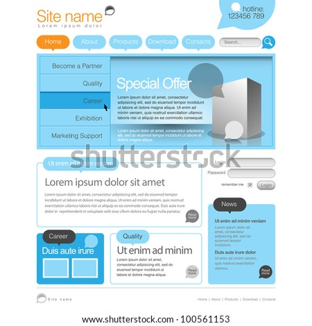 Blue and orange Website Template 960 Grid.