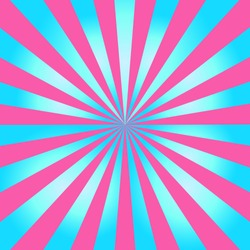 Blue and pink color burst background or sun rays background. Vector illustration