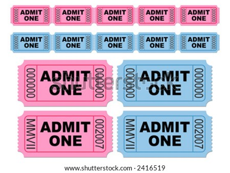 Blue and pink movie tickets. Cinema tickets. Admit one. You can change numbers and colors easily.