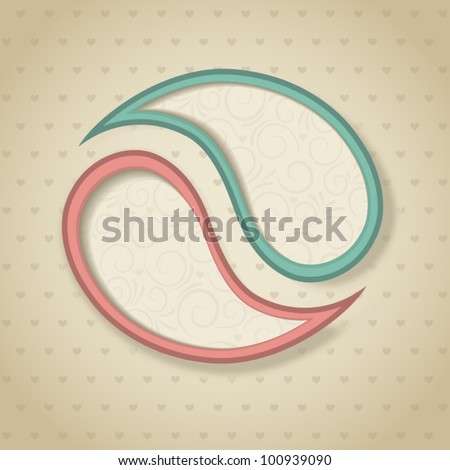 Blue and pink retro paisley frames. Vector illustration. Eps10
