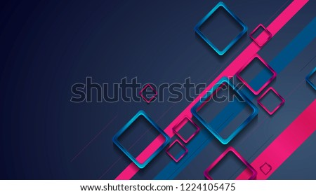 Blue and purple glossy squares abstract tech background. Vector geometric design
