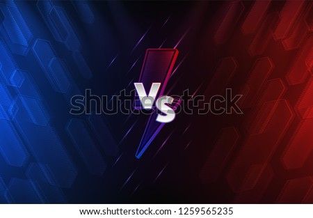Blue and red abstract background with versus monogram. Lightning bolt and chrome letters. Team competition. Eps10 vector
