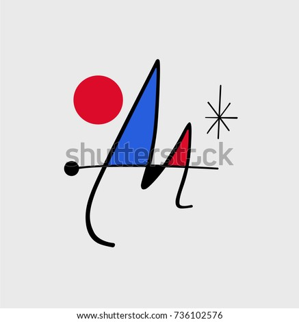 Blue and red abstract monogram of Spanish painter Miro