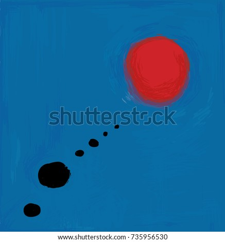 Blue and red abstract vector artwork, inspired by Spanish painter Miro