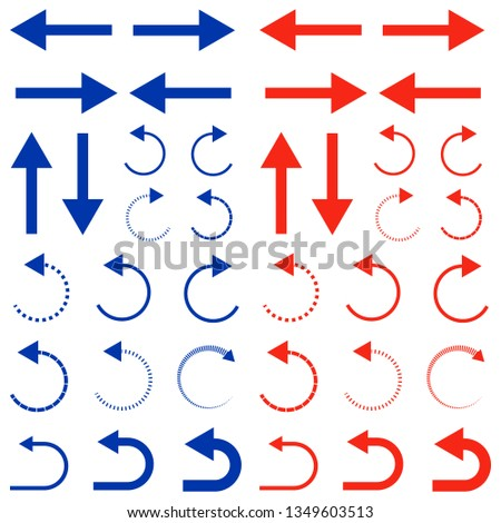 Blue and red arrows. Collection of arrows. Graphic design elements. Different arrows isolated on white background. Vector illustration. #1349603513