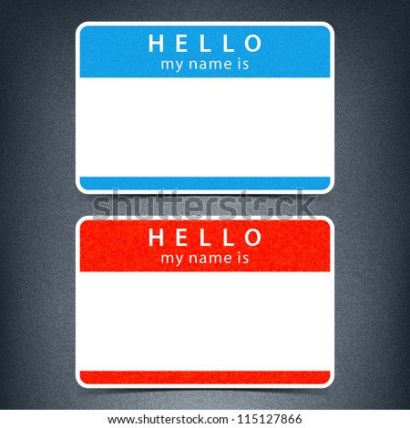 Blue and red name tag blank sticker HELLO my name is with drop black shadow on dark gray background with noise grain texture. This vector illustration clip-art element for design saved in 10 eps