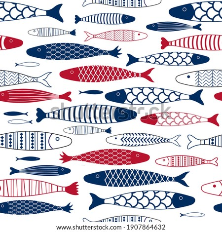 blue and red simple fish
