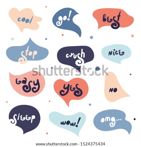 Blue and red speech bubbles set. Colorful doodle speech bubbles. Dialog windows with phrases: wow, yes, no, cool, go, stop, easy, crush, nice, omg, sleep