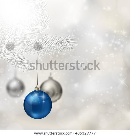 blue and silver christmas balls with fir tree branch on abstract light grey background xmas - Blue Grey Christmas Decorations