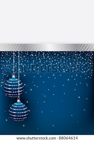blue and silver christmas decoration with space for text