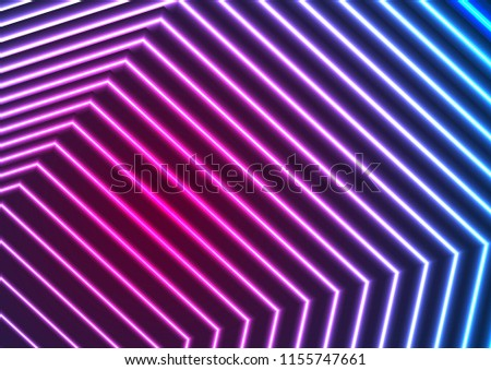 Blue and ultraviolet neon laser beam lines abstract background. Vector fluorescent iridescent design