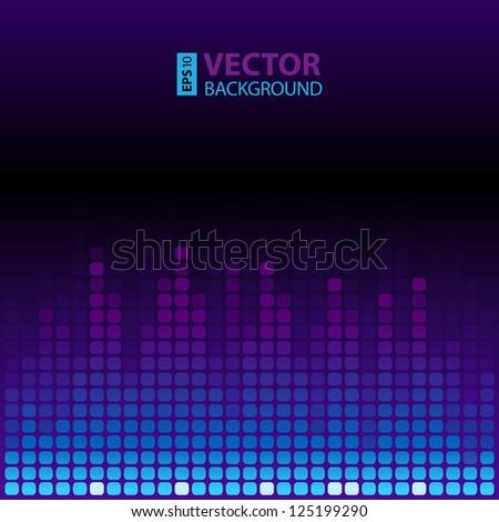 Blue and violet shining digital equalizer background. RGB EPS 10 vector illustration