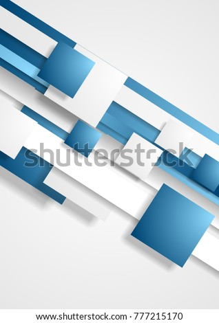 Blue and white abstract tech squares concept vector background