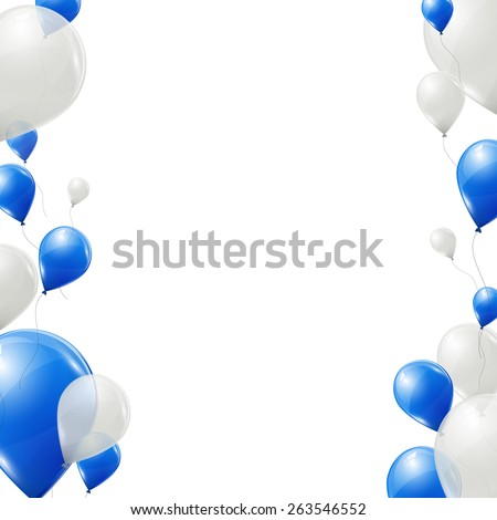 blue and white balloons on