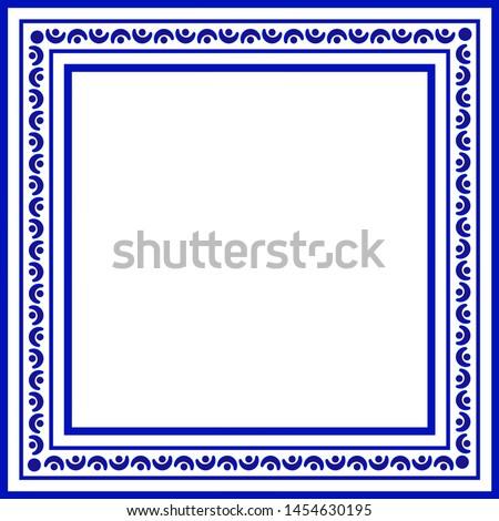 blue and white ceramic decorative square frame, cute porcelain ornament border pattern with navy blue, greetings card, porcelain indigo decorative art decor, vector illustration