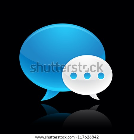 blue and white chat bubble icon reflected on black background