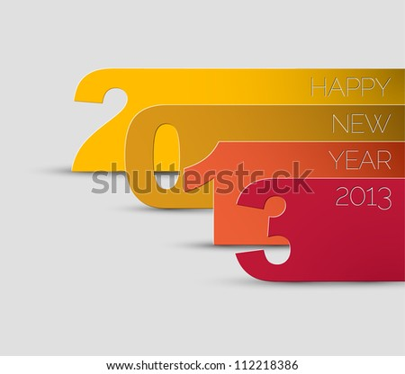 Blue and white Happy New Year 2013 vector card