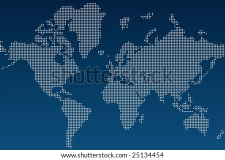 Blue And White Illustrated World Map (Vector) - 25134454 ...
