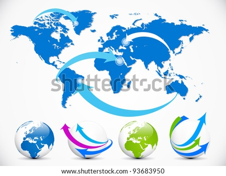 Blue And White Illustrated World Map With Arrows Pointing ...