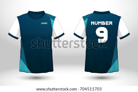 Blue and white layout football sport t-shirt design. Template front, back view. Soccer kit national team shirt mock up. Vector Illustration.