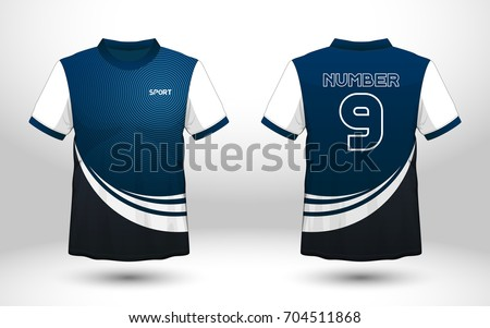 blue and white layout football sport t shirt design template front back view - Team T Shirt Design Ideas